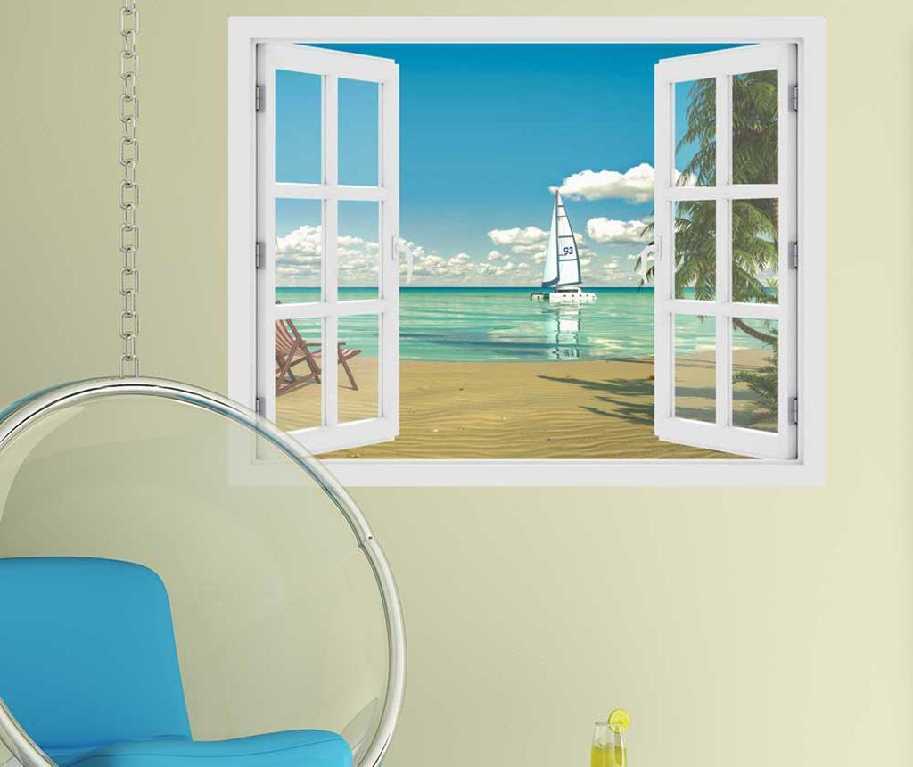 Sticker 3D Window Tropical Beach imagine