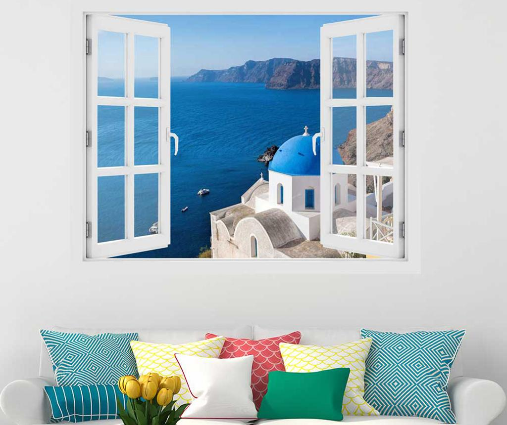 Sticker 3D Window Santorini Oia - BeeStick, Multicolor imagine