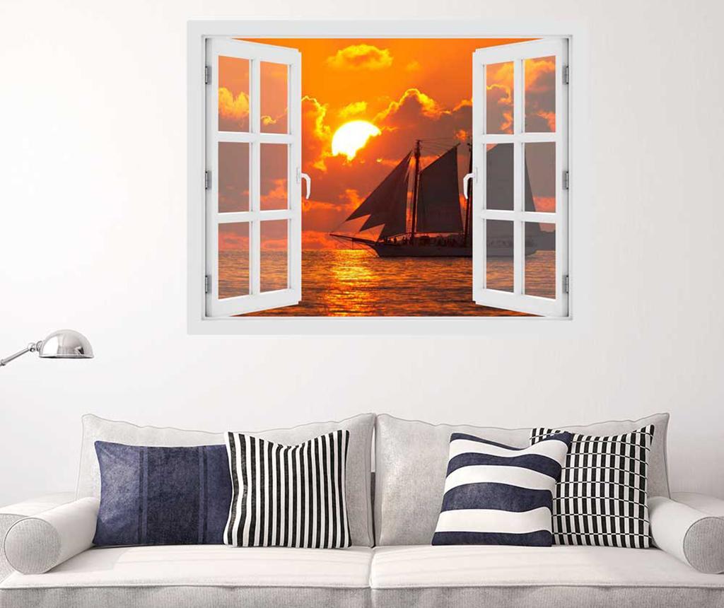 Sticker 3D Window Sunset Boat imagine