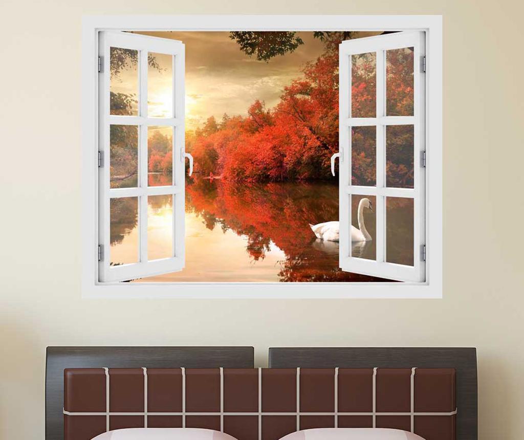 Sticker 3D Window Sunset Swan imagine