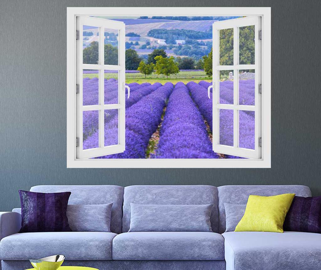 Sticker 3D Window Lavender Field Provence imagine