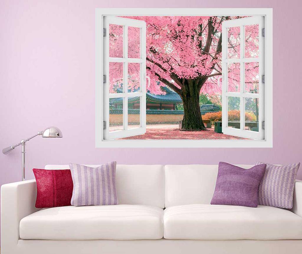 Sticker 3D Window Tree Pink imagine
