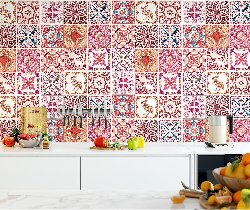 Set 24 stickere Tile Morrocan Rose - Wallplus, Rosu imagine