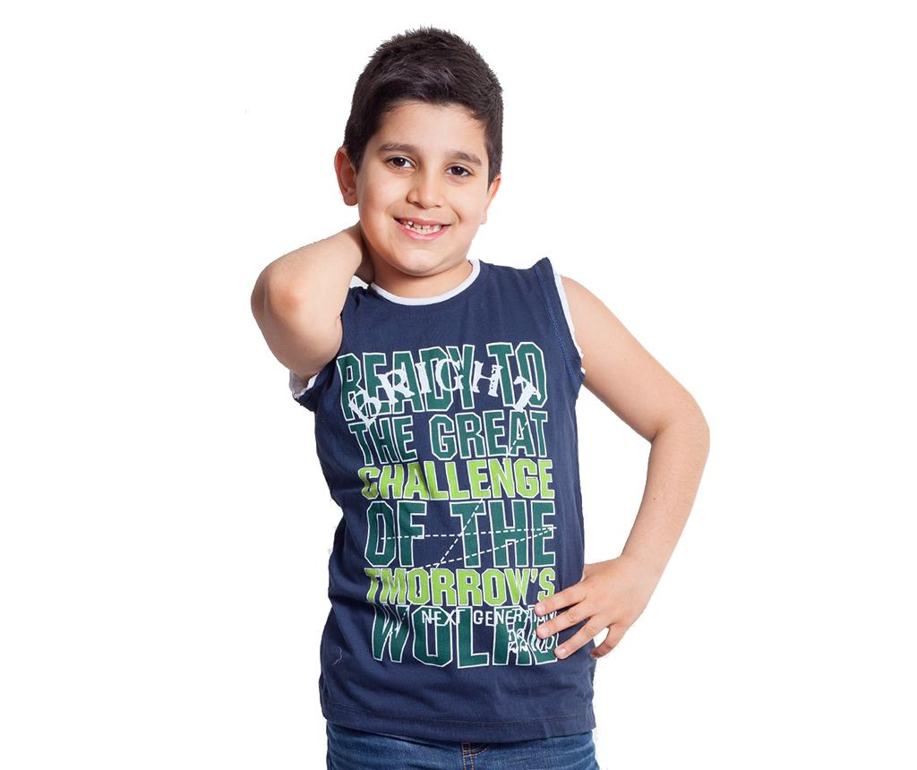 Tricou fara maneci copii Ready for Challenge Navy Blue and Green 7-8 ani