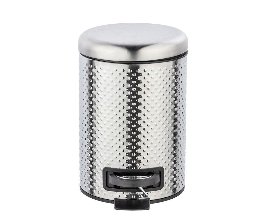 Cos de gunoi cu capac si pedala Punto Pattern 3 L - Wenko, Gri & Argintiu imagine
