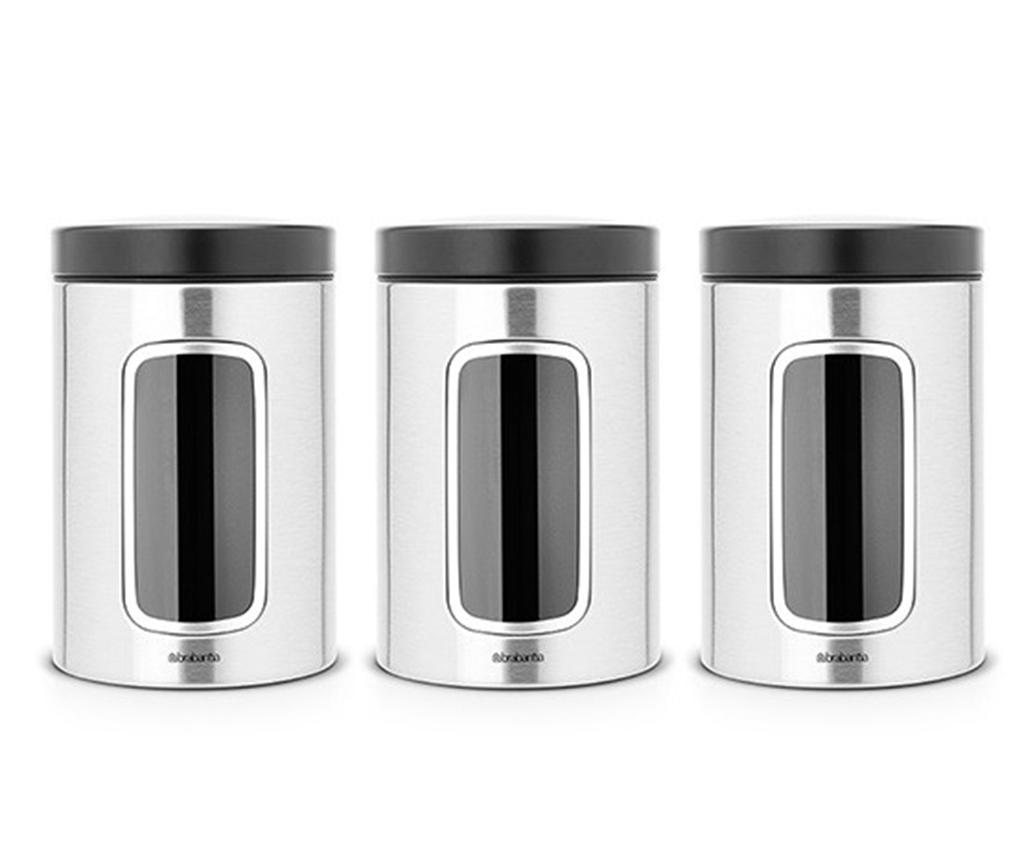 Set 3 recipiente cu capac Window Brabantia Matt Grey 1.4 L - Brabantia, Gri & Argintiu poza