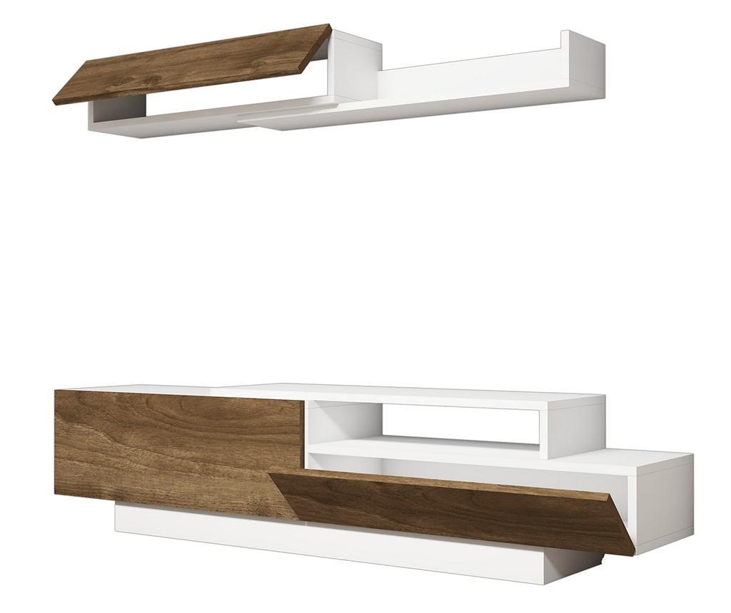 Set comoda TV si 1 corp suspendabil Elda White - Puqa Design, Alb