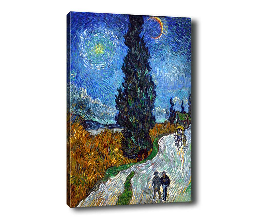 Tablou Country Road in Provence by Night 70x100 cm - Tablo Center, Multicolor
