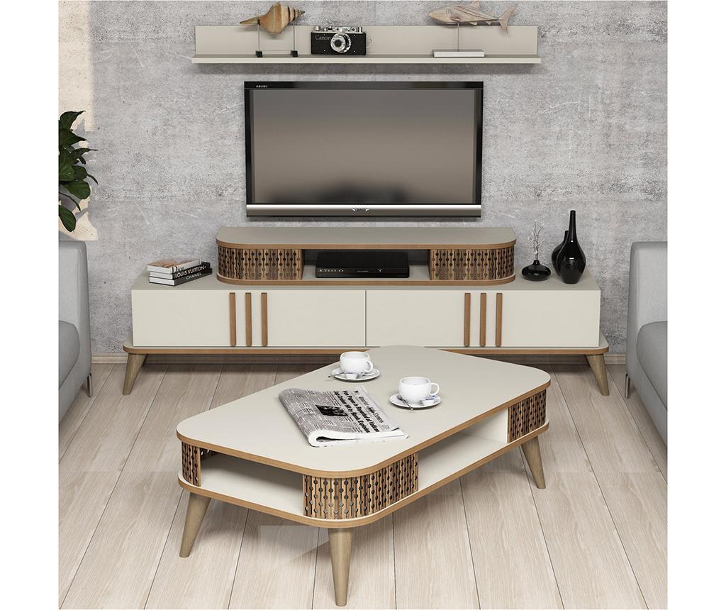 Set mobilier living Eylul Cream - Hommy Craft, Crem imagine