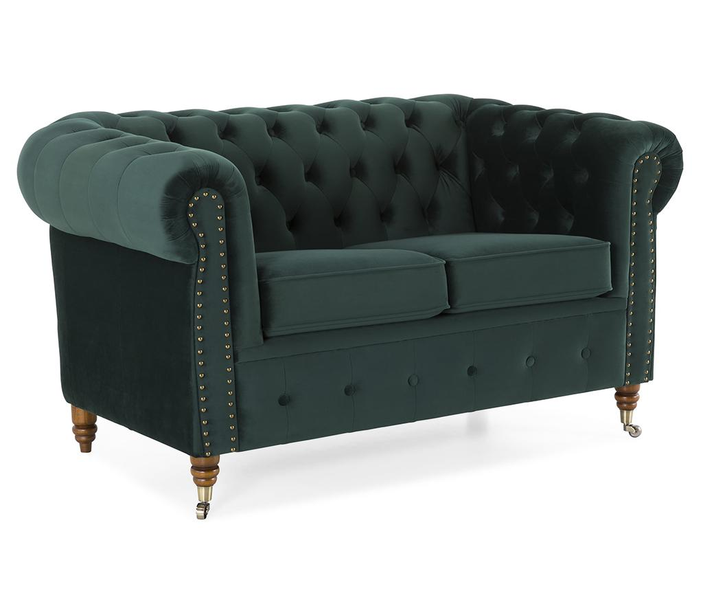 Canapea 2 locuri Chesterfield Dark Green - Kalatzerka, Verde