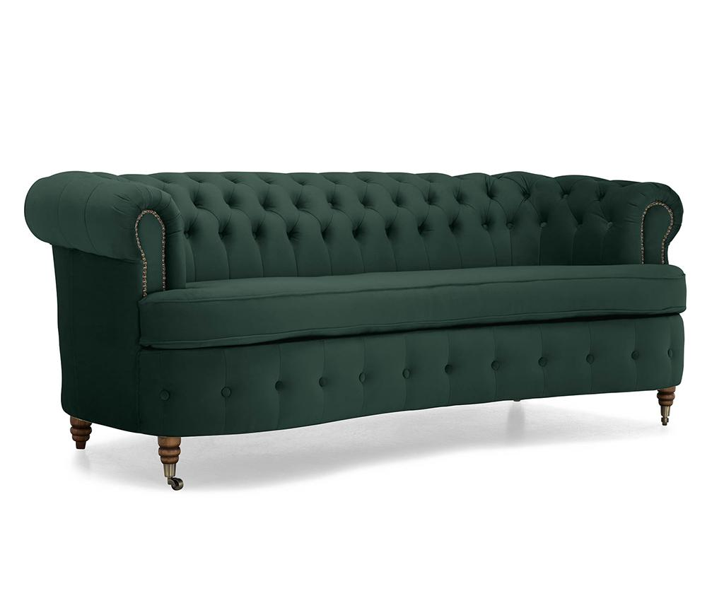 Canapea 3 locuri Chesterfield Curved Dark Green - Kalatzerka, Verde imagine