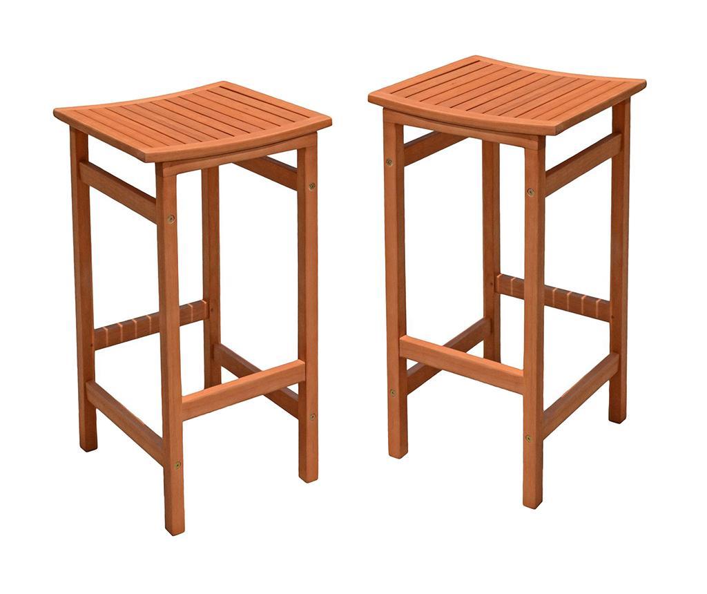 Set 2 scaune de bar pentru exterior Palmdale - Garden Pleasure, Maro imagine