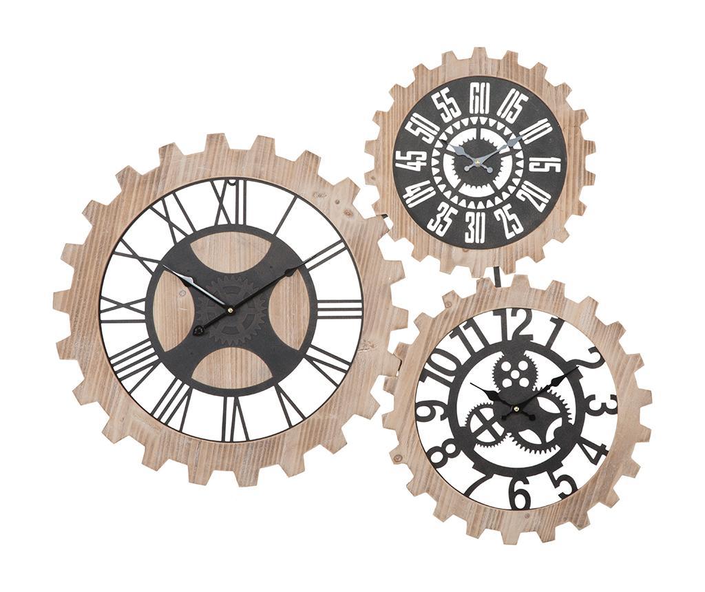 Decoratiune de perete cu 3 ceasuri Gears - Mauro Ferretti, Crem,Maro imagine