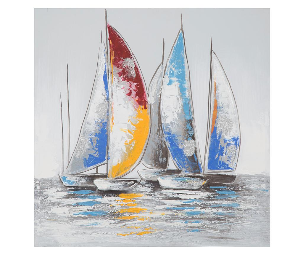 Tablou Sailing Boat Two 60x60 cm - Mauro Ferretti, Multicolor imagine