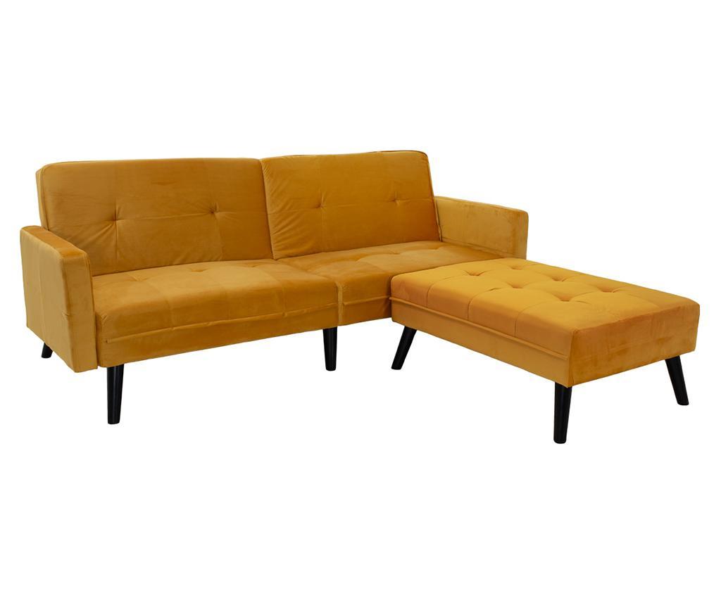 Set sofa extensibila si taburet pentru picioare Dream Yellow