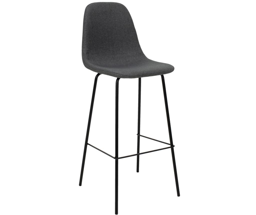 Scaun de bar Bella Fabric Anthracite Black Legs - PAKOWORLD, Gri & Argintiu imagine