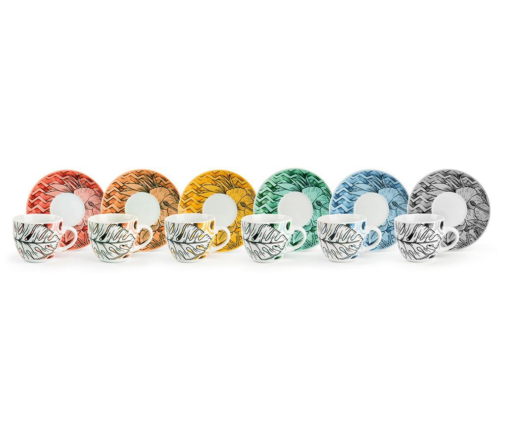 Set 6 cesti si 6 farfurioare Flower Power 90 ml - Excelsa, Multicolor imagine vivre.ro