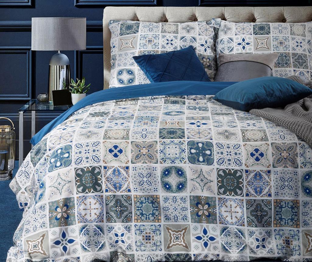 Set de pat King Satin Azul imagine