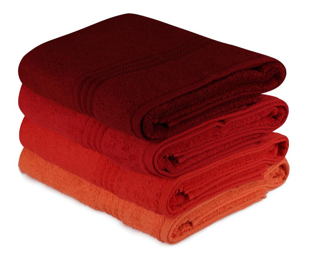Set 4 prosoape de baie Rainbow Red 70x140 cm