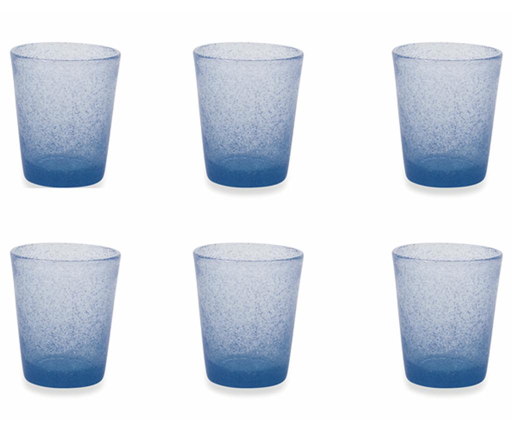 Set 6 pahare pentru apa Cancun Satin Light Blue 330 ml imagine