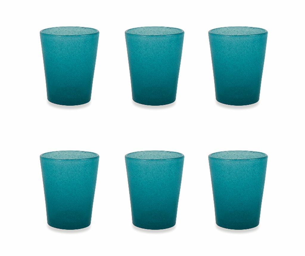 Set 6 pahare pentru apa Cancun Satin Tiffany Blue 330 ml - Villa D'Este, Albastru