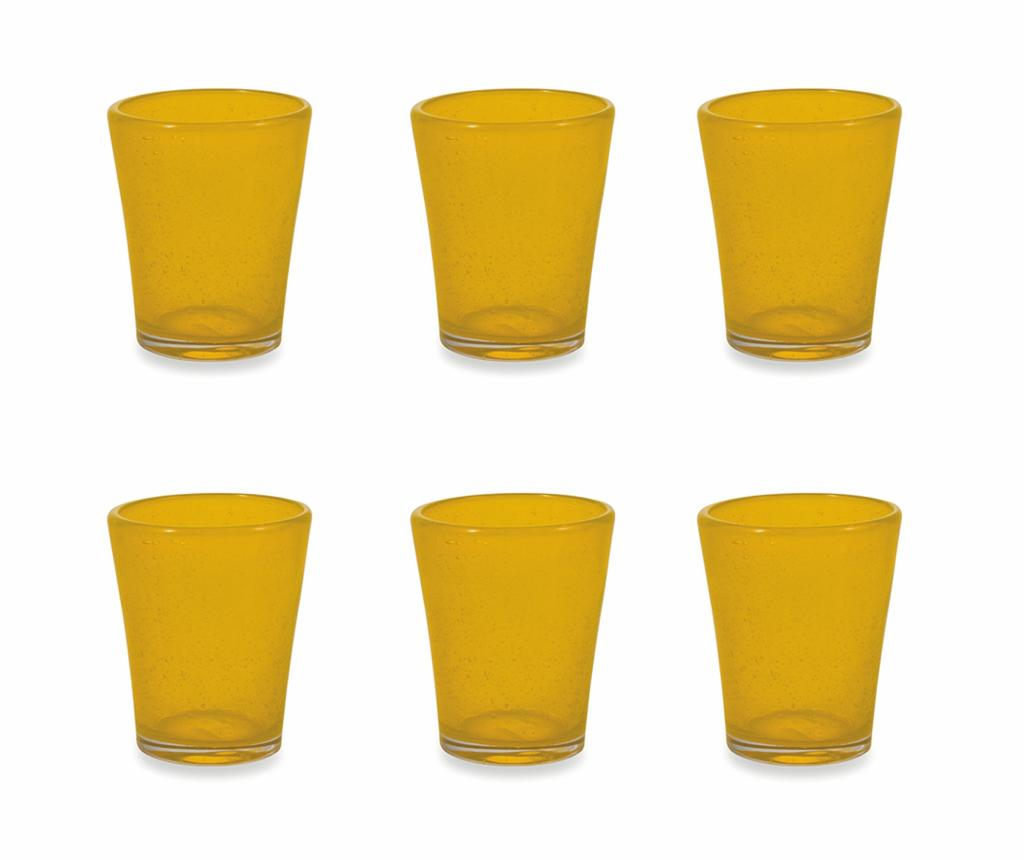 Set 6 pahare pentru apa Cancun Satin Yellow 330 ml imagine