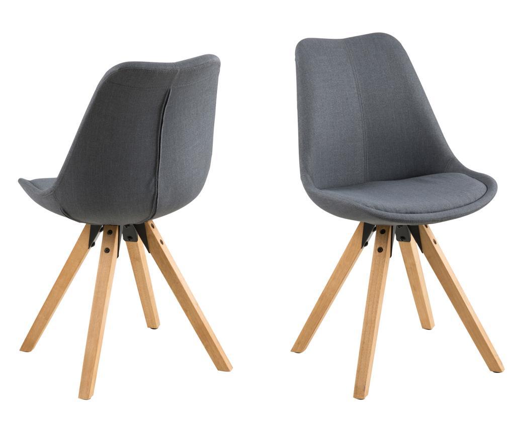 Set 2 scaune Dima Corsica Dark Grey - actona, Gri & Argintiu