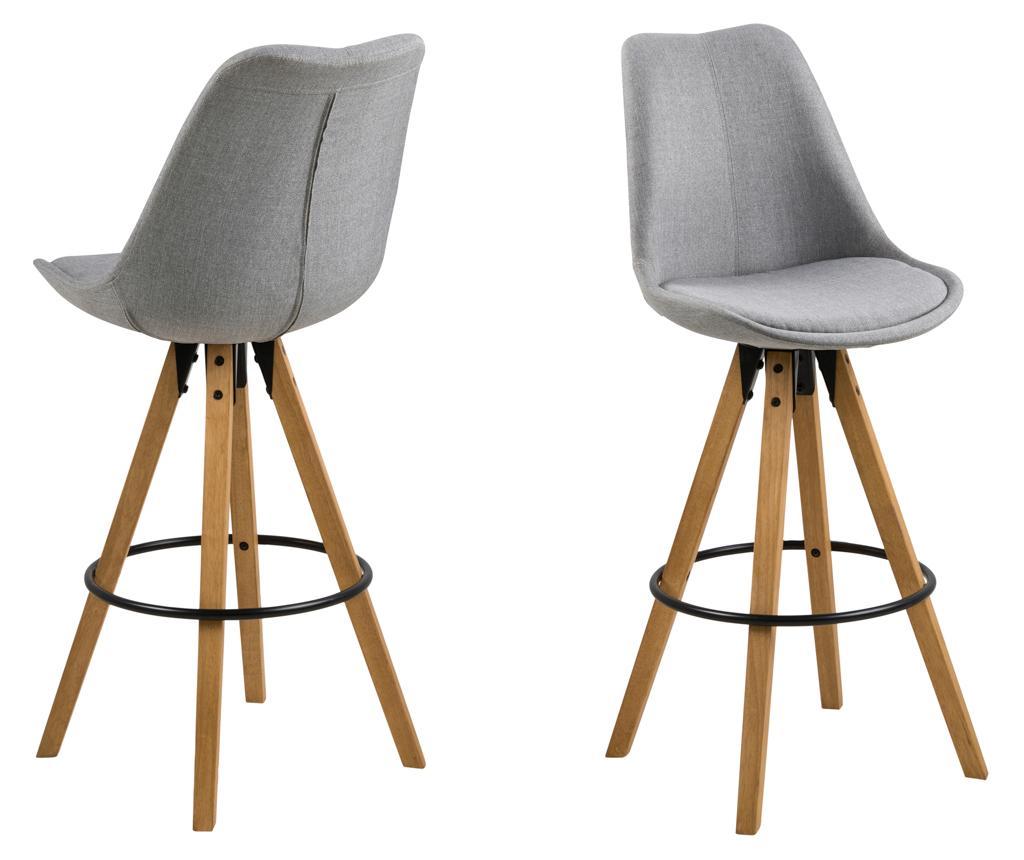 Set 2 scaune de bar Dima Corsica Light Grey - actona, Gri & Argintiu imagine