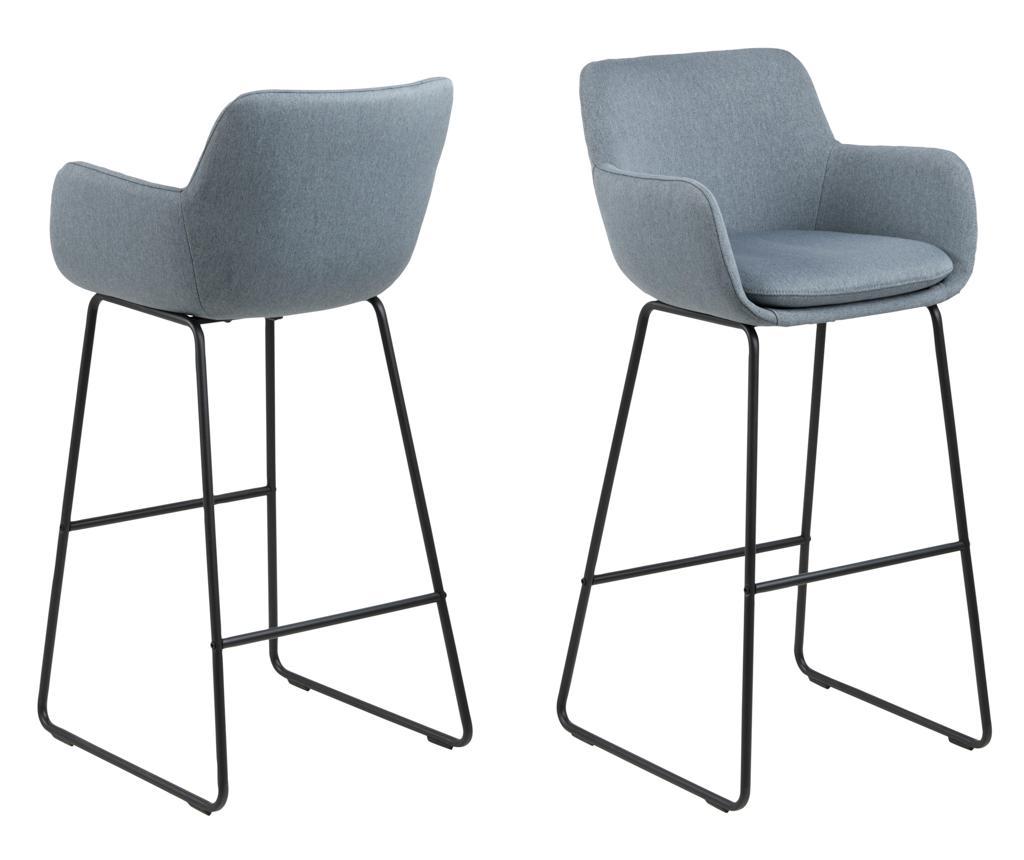 Set 2 scaune de bar Lisa Dusty Blue - actona imagine