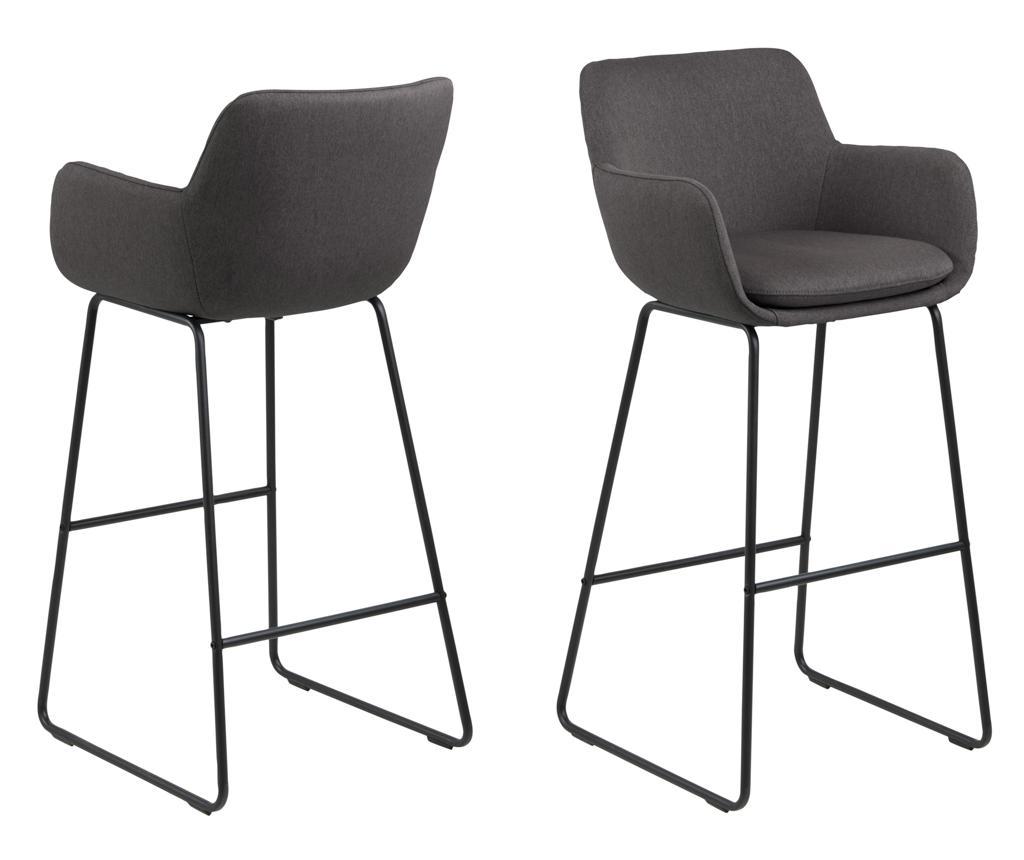 Set 2 scaune de bar Lisa Dark Grey - actona imagine