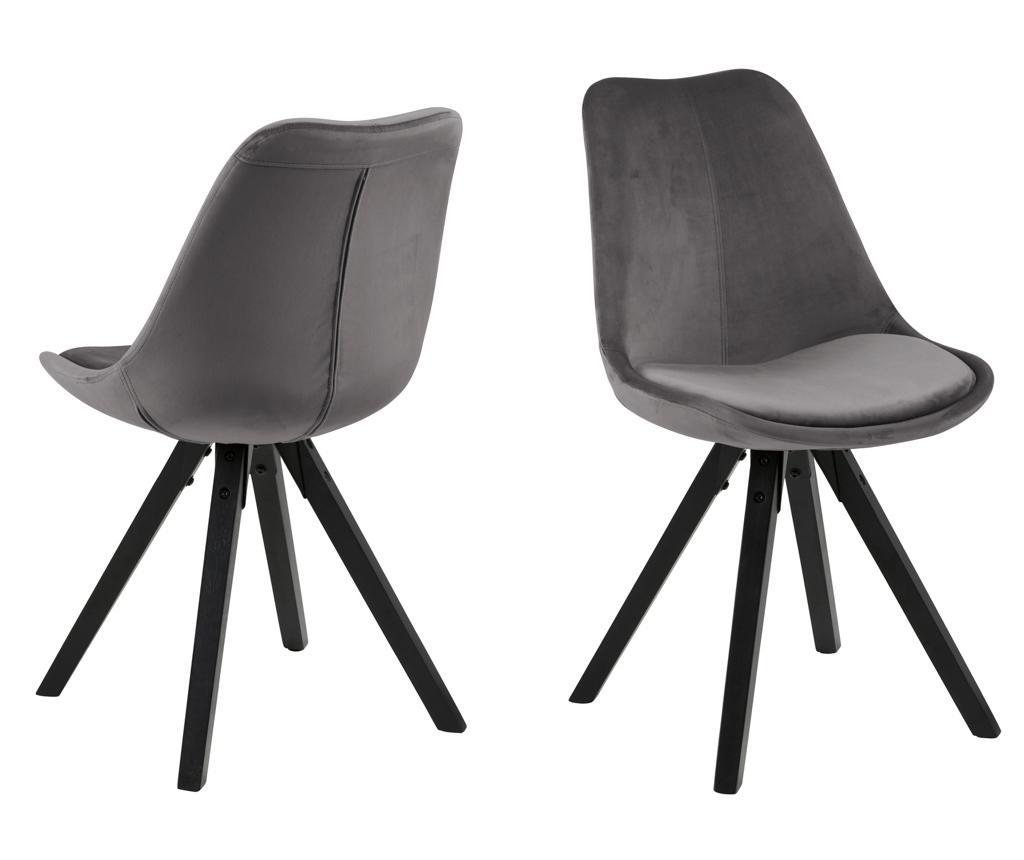 Set 2 scaune Dima Black Grey - actona imagine