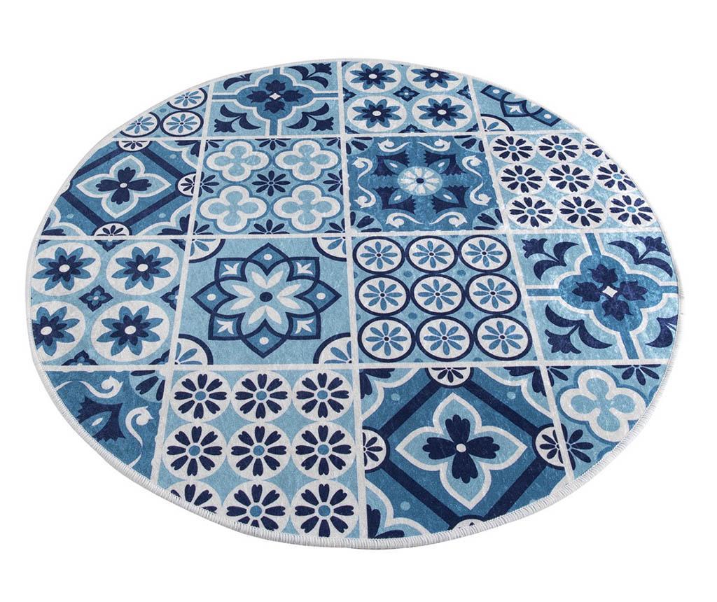 Covoras de baie Oriental Tiles 100 cm - Chilai Home, Albastru vivre.ro