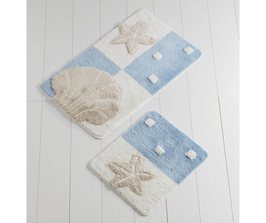 Set 2 covorase de baie Shell Beach White and Blue - Chilai Home, Multicolor imagine vivre.ro
