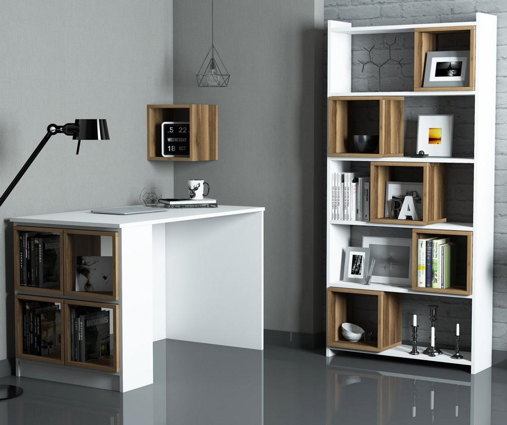 Set birou, corp biblioteca si raft de perete Box White Walnut - Hommy Craft, Alb imagine