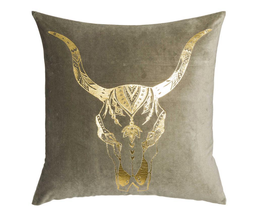 Perna decorativa Skull Horns Green Gold 60x60 cm imagine