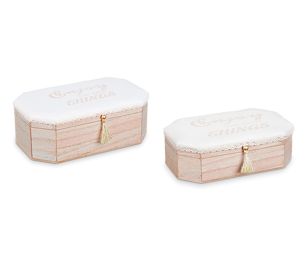 Set 2 cutii cu capac Little Things - Disraeli, Crem imagine