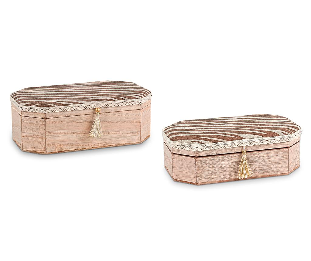 Set 2 cutii cu capac Tassel - Disraeli, Maro imagine