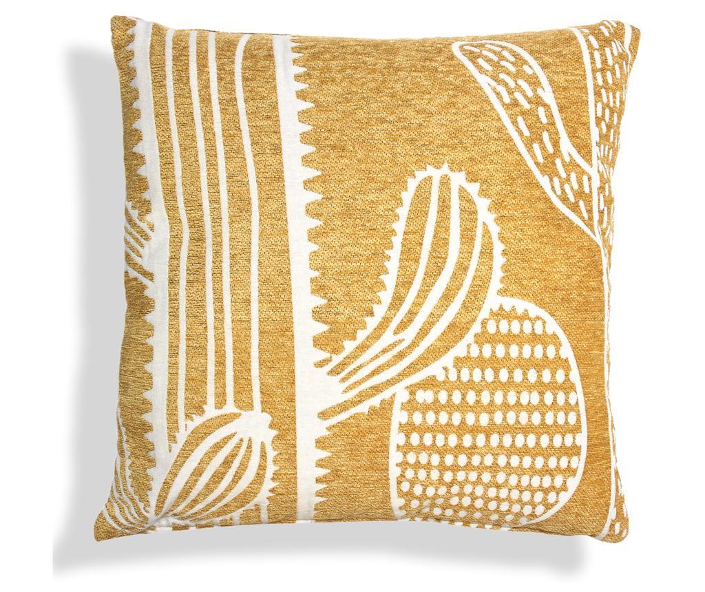 Perna decorativa Cactus Macro 45x45 cm - Baroni Home, Crem,Galben & Auriu imagine