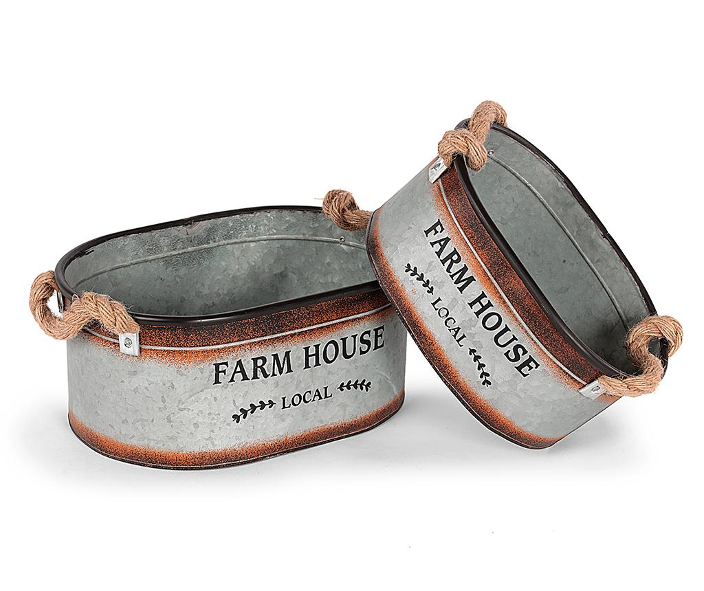 Set 2 ghivece Farm House - Disraeli, Gri & Argintiu