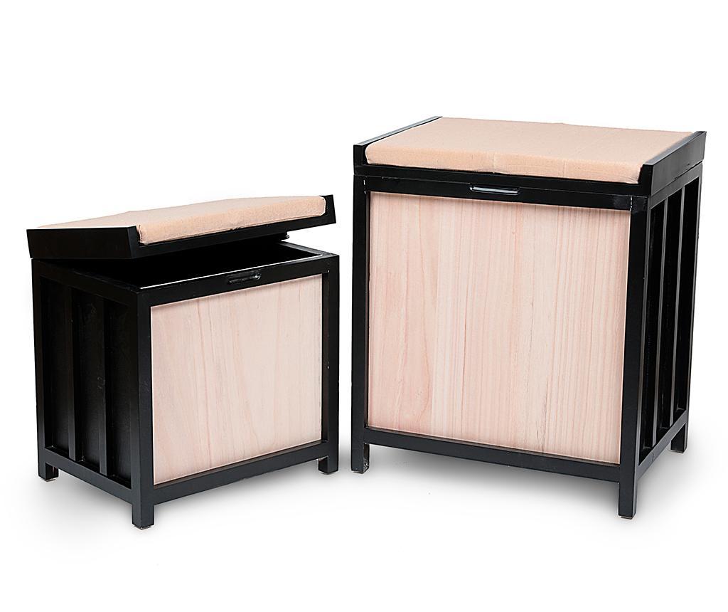 Set 2 taburete Smart - Disraeli, Crem,Negru imagine
