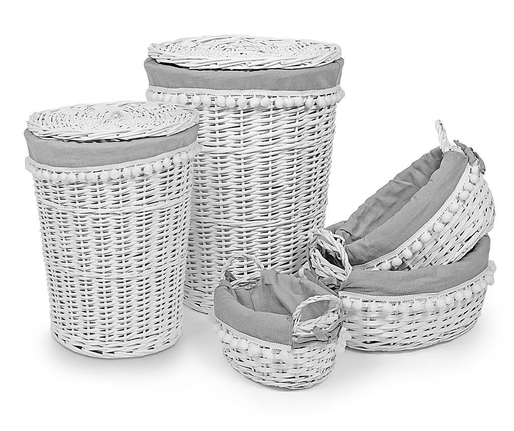Set 2 cosuri cu capac pentru rufe si 3 cosuri Lina Round - Disraeli, Alb vivre.ro