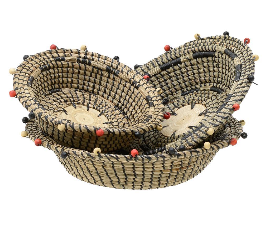 Set 3 boluri decorative Dara - inart, Crem,Negru