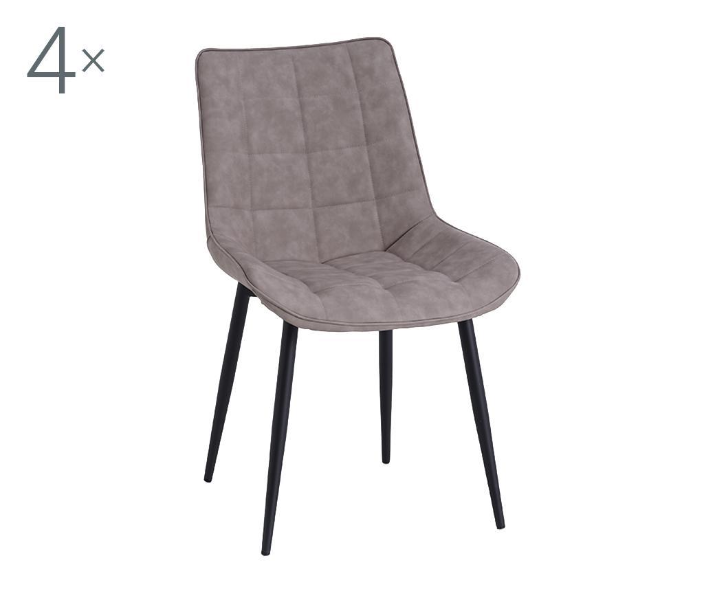 Set 4 scaune Charlotte Taupe - TFT Home Furniture, Gri & Argintiu imagine