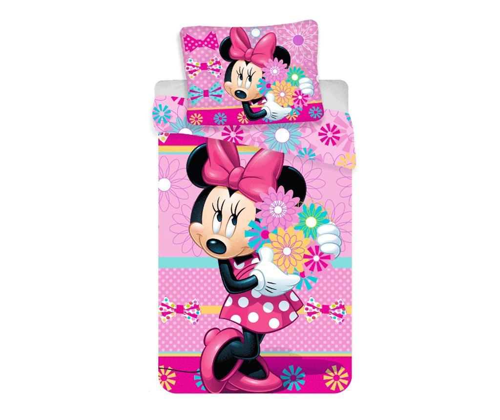 Set de pat Single Minnie bows and flowers - Minnie Mouse by Disney, Multicolor de la Minnie Mouse by Disney