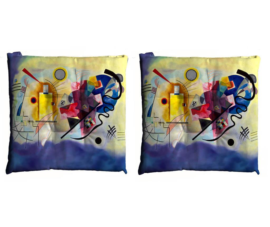 Set 2 perne de sezut Kandinsky Giallo Rosso Blu 40x40 cm imagine