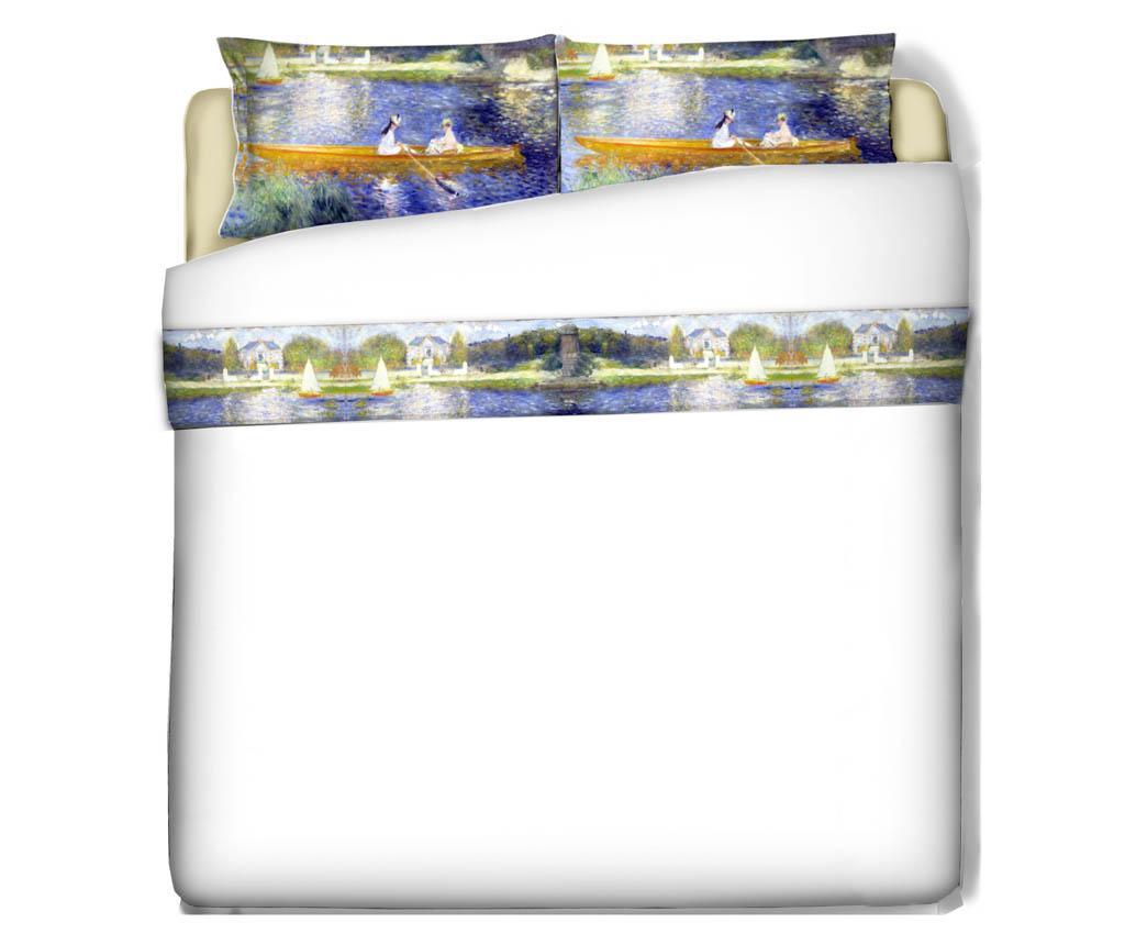 Set cearsaf de pat si fata de perna Double Renoir La Yole - Polo Ovest, Multicolor imagine
