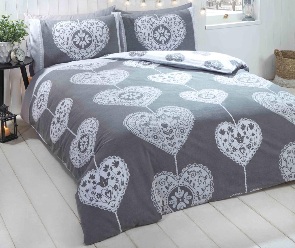 Set de pat Double Scandi Heart BC Grey Double - Rapport Home, Multicolor poza