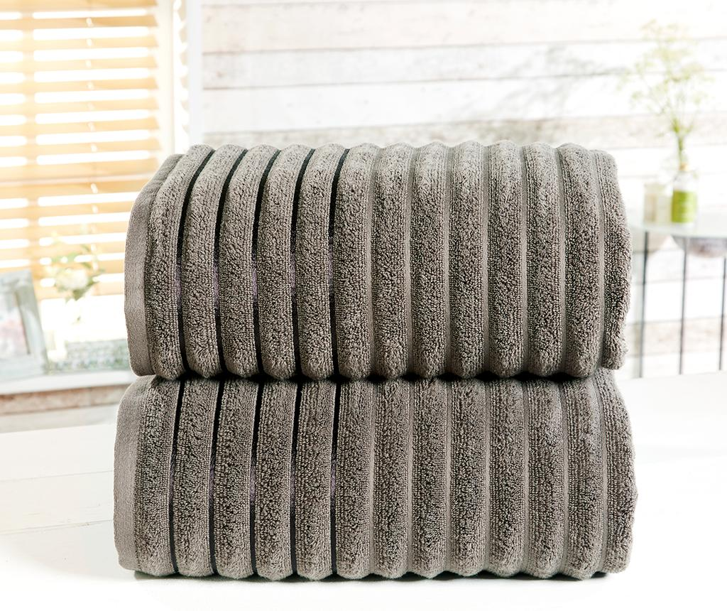 Set 2 prosoape de baie Ribbed Charcoal