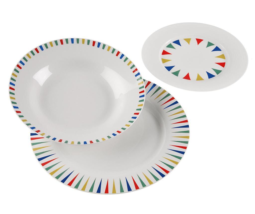 Set 18 farfurii Geometric - Versa, Multicolor imagine