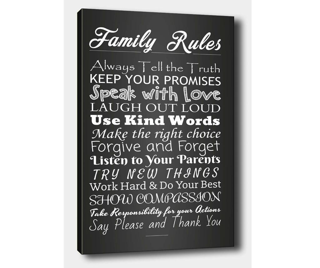 Tablou Family Rules 40x60 cm - Tablo Center, Multicolor imagine